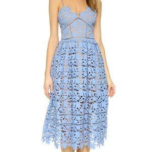 Aqua Blue Lace Overlay & Nude Midi Dress Size M